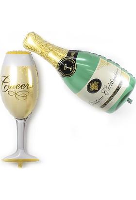 Cin Doğum Günü Ufak Boy Şampanya Kadeh Folyo Balon Cin173