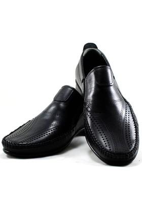 Marutti Hakiki Deri Erkek Ayakkabı Gözenekli Siyah