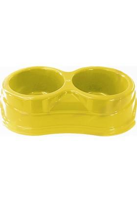 Markapet Plastik İkili Kedi Köpek Mama Su Kabı 250 + 250 Ml Sarı