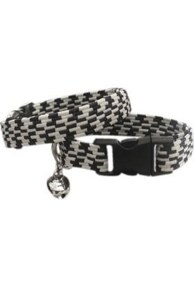 Ans Elastik Örme Yavru Kedi Köpek Boyun Tasması Siyah-Beyaz 10 Mm A=23/32 Cm