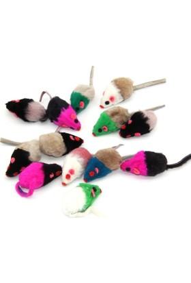Gimcat Tüylü Kedi Oyuncağı Renkli Tüy Kuyruklu Fare Tekli 11*2.5 Cm