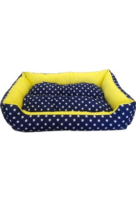 Catia Yıldızlı Sarı Lacivert Köpek Yatağı 15* 70*95 Cm
