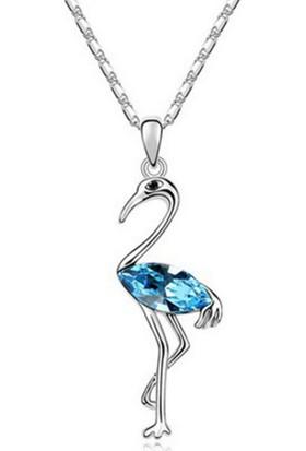 Myfavori Avusturya Kristal Gümüş Kaplama Deniz Mavi Flemengo Kolye