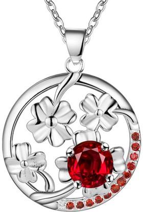 Myfavori Kırmızı Taş Çiçek Kolye Hediye Kolye