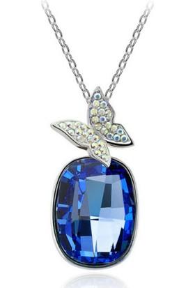 Myfavori Mavi Taşlı Kelebek Kolye