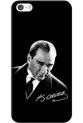 Kılıf Merkezi iPhone 5/5S/SE Kılıf Silikon Baskılı Mustafa Kemal Atatürk STK:390
