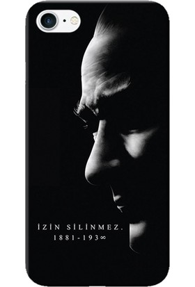 Kılıf Merkezi iPhone 8 Kılıf Silikon Baskılı Atatürk İzin Silinmez STK:389