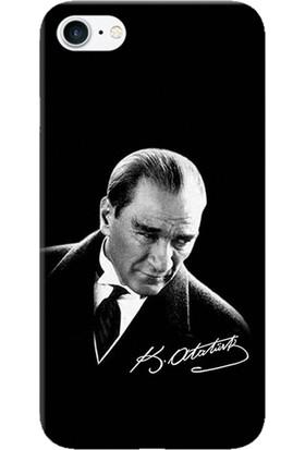 Kılıf Merkezi iPhone 8 Kılıf Silikon Baskılı Mustafa Kemal Atatürk STK:390