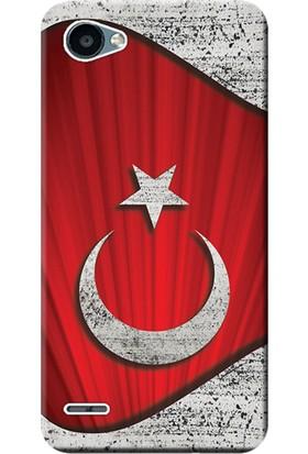 Kılıf Merkezi LG Q6 Kılıf M700Y Silikon Baskılı Türk Bayrağı Tasarım STK:377