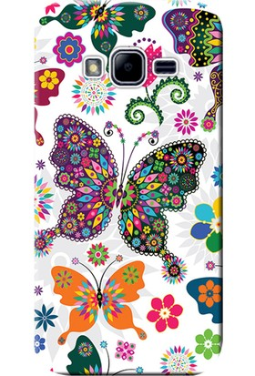 Kılıf Merkezi Samsung Galaxy Grand Prime Plus Kılıf SM-G532 Silikon Baskılı Renkli Kelebekler STK:541