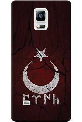 Kılıf Merkezi Samsung Galaxy Note 4 Kılıf Silikon Baskılı Göktürkçe Türk STK:386