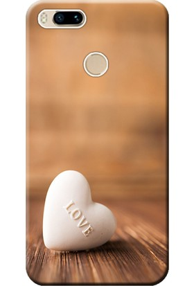 Kılıf Merkezi Xiaomi Mi A1 Kılıf Silikon Baskılı Beyaz Kalp STK:118