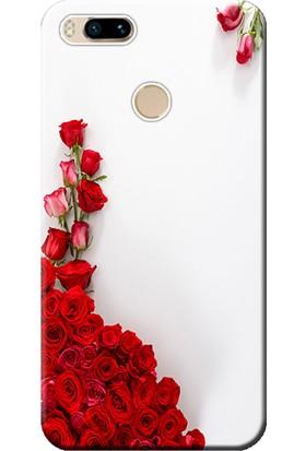 Kılıf Merkezi Xiaomi Mi A1 Kılıf Silikon Baskılı Kırmızı Gül STK:258