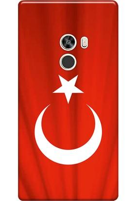 Kılıf Merkezi Xiaomi Mi Mix 2 Kılıf Silikon Baskılı Türk Bayrağı STK:370