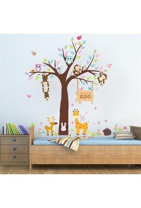 Zooyoo Fil Tavşan Geyik Maymun Baykuş Kirpi Çocuk Odası Ev Duvar Pvc Sticker