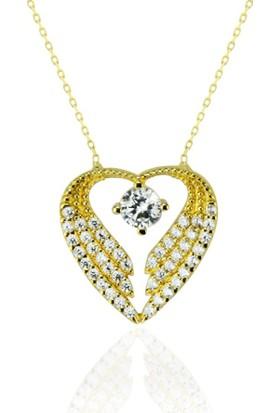 Lilarote Kalpli Altın Taşlı 14 Ayar Kolye