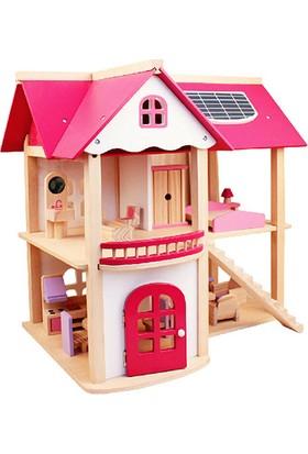 HiQ Toys Ahşap Pembe Oyun Evi Mobilyalı Pink Doll House