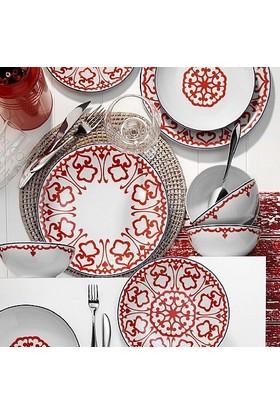 Kütahya Porselen Zeugma 24 Parça 6 Kişilik Yemek Takımı -Kırmızı