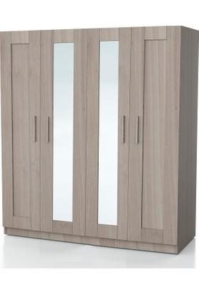 Dsm Dizayn Mnt-302 4 Kapılı Çift Aynalı Gardırop