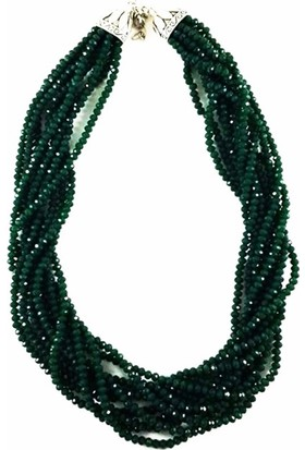 Bijustore Yeşil Çoklu Kristal Taş Kolye