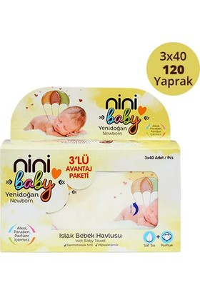 Ninibaby Yenidoğan Islak Mendil 3'lü Paket 3x40 Yaprak
