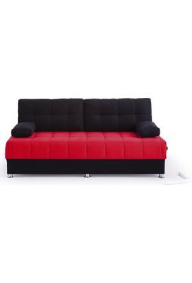 Futon Akçay S Üçlü Kanepe ( Siyah - Kırmızı )