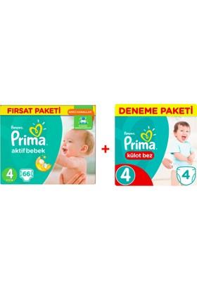 Prima Bebek Bezi Aktif Bebek 4 Beden Maxi Fırsat Paketi 66 Adet + Külot Bez