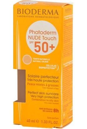Bioderma Photoderm Nude Touch Natural Spf50+ 40 Ml - Yağ Dengesini Kontrol Etmeye Yardımcı Renkli Yüksek Faktör Güneş Koruyucu (Naturel Renk)