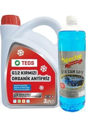 Teos -40° Organik Kırmızı Antifriz 3 Lt + 1 Lt Cam Suyu