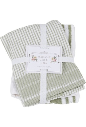 Madame Coco 2'li Mutfak Havlusu - Yeşil / Beyaz