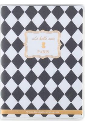 Madame Coco PVC Kapaklı Cep Defteri - Siyah / Beyaz