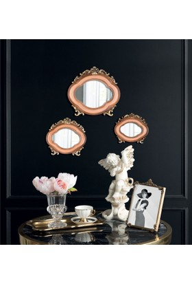Madame Coco 3'lü Duvar Aynası Seti - Pudra