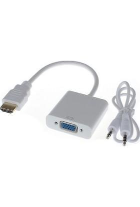 Qty Hdmı To Vga Audio Ses Kablolu Dönüştürücü Adaptör
