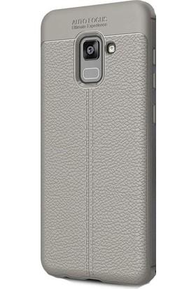 Kny Samsung Galaxy A8 Plus 2018 Kılıf Deri Desenli Lux Niss Silikon+Cam Ekran Koruyucu