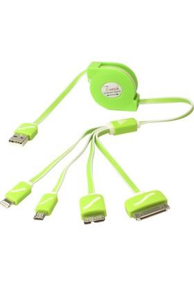 Qpars Çok Uçlu Çoklu Şarj Kablosu Micro Usb İphone 5 6 Şarz Makaralı