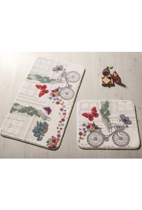 Confetti Spılled Flowers 2'Li Set 57X100 50X57 Kırmızı Oymalı Halı