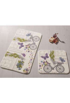 Confetti Spılled Flowers 2'Li Set 57X100 50X57 Mor Oymalı Halı