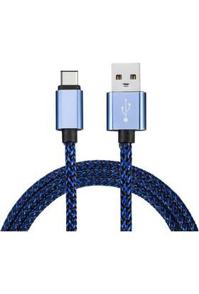 Moonlight Type C Usb 3.1 Data Şarj Kablosu Örgülü Mavi Kablo 1 Metre