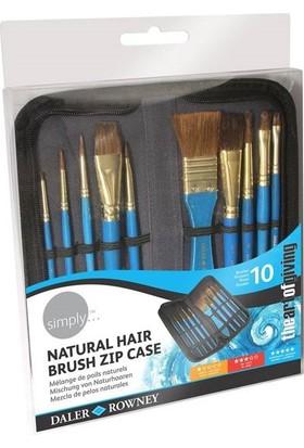 Daler Rowney Simply Natural Hair Sulu Boya Fırça Seti Çantalı 10'lu