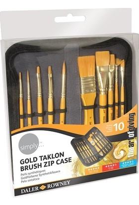 Daler Rowney Simply Gold Taklon Akrilik Çantalı Fırça Seti 10'lu