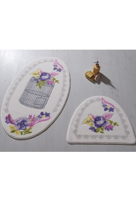 Confetti Flower Cage 2'Li Set 66X107 66X53 Mor Oymalı