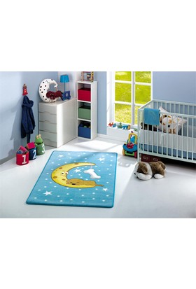Confetti Moon 100X160 Cm Mavi Oymalı Çocuk Halısı