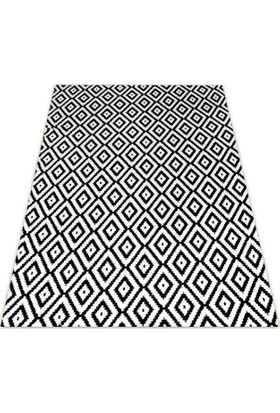 Nur Home Siyah Beyaz Mozaik Welsoft Lastikli Halı Örtüsü 80x150