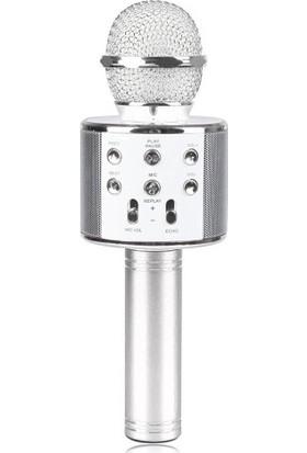 TechnoStyle Profesyonel Ses Kaydı Yapabilen Eğlenceli Karaoke Mikrofon WS858 Gümüş