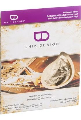Unik Design Imitasyon Varak 16X16Cm 100'Lü Açık Altın