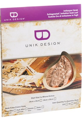 Unik Design Imitasyon Varak 14X14Cm 25'Li Bakır