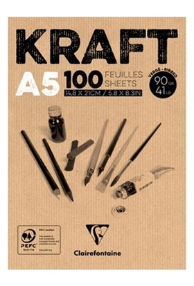 Clairefontaine Kraft Çizim Blok 100 Yaprak A5 90Gr
