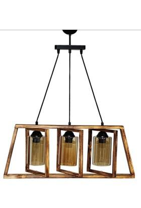 Hepsiburada Home Wood Selection Alaçatı 3'Lü Doğal Ahşap Sarkıt Avize