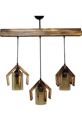 Hepsiburada Home Wood Selection Yengeç 3'Lü Sıralı Doğal Ahşap Sarkıt Avize