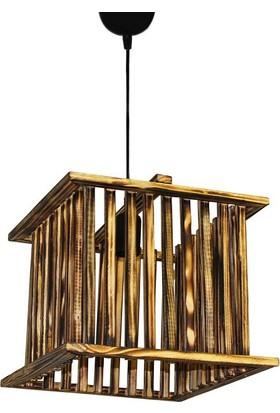 Hepsiburada Home Wood Selection Sarnıç Tekli Doğal Ahşap Sarkıt Avize